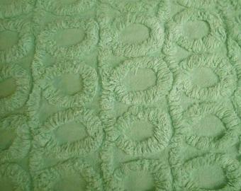 "Gorgeous Plush LIME Green CURLIQUES Vintage Chenille Bedspread Fabric -  25"" X 27"" - #2"