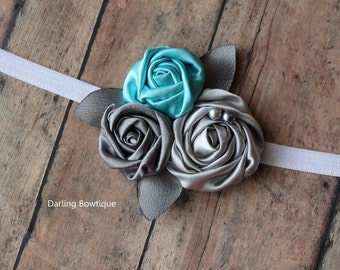 Silver Grey and Light Aqua Rosettes on thin white elastic headband