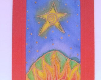 Recycled Greeting Card and Envelope - Hand painted Fabric Textile - Star - Fire - Earth Flame - Earth Mound