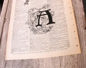 Alphabet Monogram - Upcycled Single Letter Frameable Print on corresponding page from a repurposed Broken Dictionary - Floral Art Nouveau
