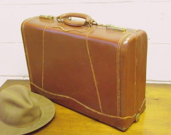 Leather Suitcase Double Handle Mid Century Traincase Luggage JC Higgins