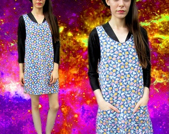 Floral Grunge Denim Jumper Mini 90s Dress