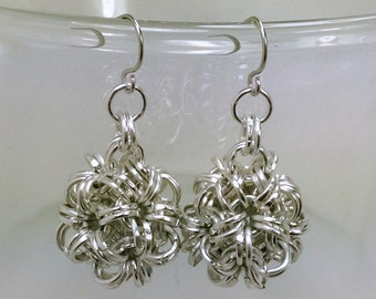 Silver Mini Dodecahedron Chainmaille Earrings