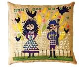 Crewel Embroidery Pillow Pattern Finnish Scandinavian Man and Woman