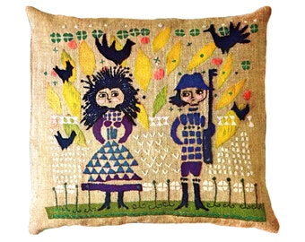 Crewel Embroidery Pillow Pattern Finnish Scandinavian Man and Woman