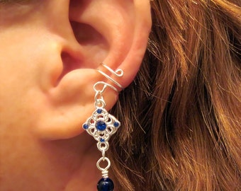 "Cartilage Ear Cuff ""Princess"" Cobalt Blue and Silver Tone Dangle No Piercing Prom"