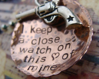 I Keep A Close Watch On This Heart of Mine Necklace Copper and Silver Hand Stamped Necklace