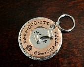 Custom Pet ID Tag, Layered - The Hunter - layered washer style