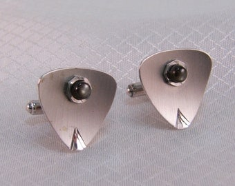 1960's Modernist Sterling Cuff Links, Onyx Accents