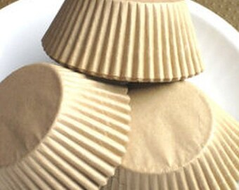 250 Unbleached STANDARD SIZE Cupcake Muffin Liners Baking Cups NATURAL Wrappers