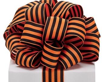 "5yds Grosgrain Ribbon 1-1/2"" Wired Edge Orange & Black Stripe (FREE SHIPPING!)"