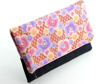 Denim Clutch, Women Handbag, Evening Clutch Bag, Foldover Clutch, Plum Blossoms Pink