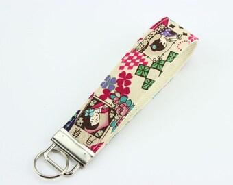 Japanese Kimono Key-chain, Handmade Key Fob, Gift Idea Under 10,Showa Retro, White