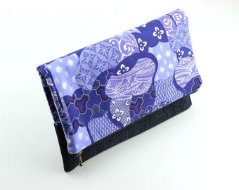OOAK Fold Over Clutch, Mother's Day Gift Idea Under 25, Kimono Cotton Fabric Japanese Traditional Patterns Purple