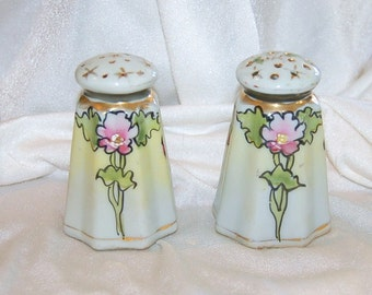 Antique Art Nouveau Salt and Pepper S&P -  Hand Painted - Gilded - Green, Pink, Red