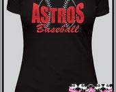 Custom glitter vinyl womans Baseball or softball Silhoutte shirt