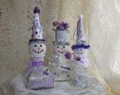 Lavender And Silver Snowman Trio, Christmas Decor