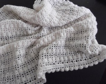 Afghan Or Blanket Lacy Design In A Cream Color For Baby Or Your Home