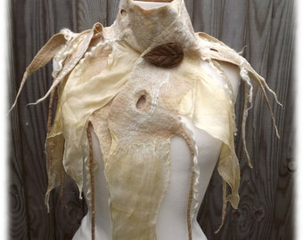 White handmade wool silk scarf-Made to order-   Woodland Tattered Scarf -bridal wrap- Nuno Felt Wrap- Belt Scarf - Faerie Scarf -tutu