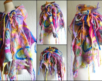 nuno felted scarf, wrap, handmade, silk, felted wool , art to wear, MADE TO ORDER, orange, blue, geen, yellow, pink, red