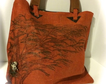 Giraffe Tote, Burlap, Orange, Copper, Brown, Faux Leather with Wooden Handles, Coupon, Receipt Organizer