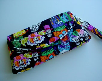 Quilted Wristlet Clutch in Day of the Dead print