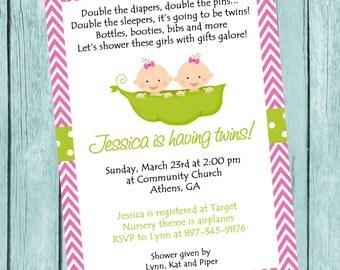 Printable Two Peas In A Pod Invitation.  Twins Girl Baby Shower Invite.  Twins Invitation.  Baby Shower Invitation.  Pink Chevron invite