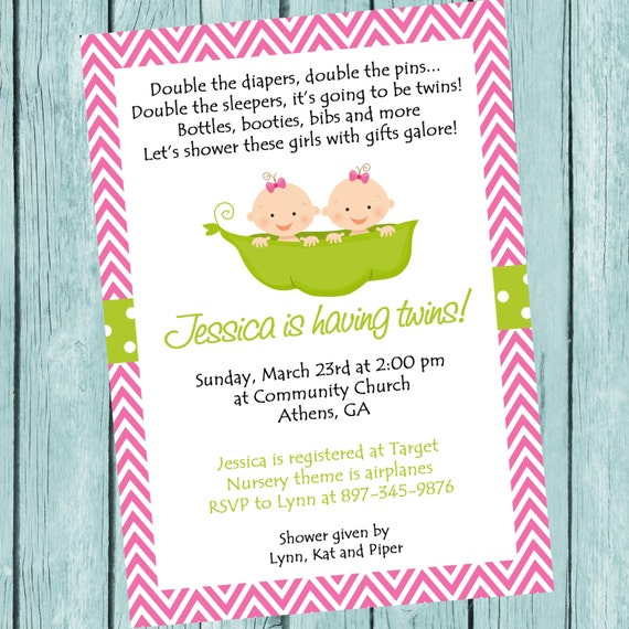 printable two peas in a pod invitation. twins girl baby shower, Baby shower