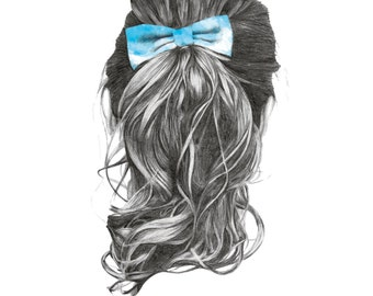 Hair with Bow Giclee Print A4