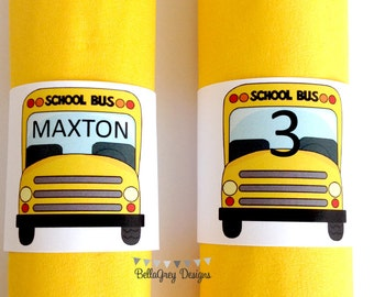 Bus Party Personalized Printable Napkin Ring Band