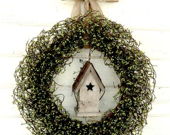 Spring Wreaths-Summer Wreath-Fall Wreath-Birdhouse Wreath-Rustic Country Home Decor-SAGE GREEN Wreath-Housewarming Gift-Scented Wreath-Gift