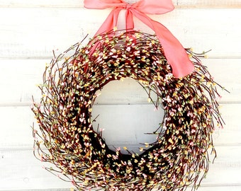 Spring Wreath-Spring Door Wreath-Spring Home Decor-Easter Wreath-Baby Nursery Decor-Baby Shower Wreath-Cottage Chic Decor-Custom Made-