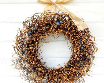 Fall Door Wreath-Fall Home Decor-Housewarming Gift-BLUE & GOLD Berry Wreath-Wedding Gift-Scented Wreaths-Wall Hanging-Country Home Decor