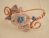 Hand Formed Copper Wire Bangle with Pink and Blue Porcelain Beads, Art Jewelry