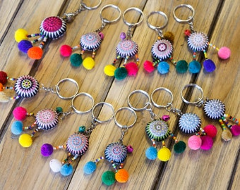 Hmong  Key ring/ Key chain/Ethnic Acessories /colorful/tribal pendant