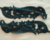 Venice Lace Appliqués In Dark Forest Green Color.