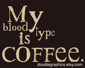 Coffee Art - My Blood Type is Coffee Typography Giclee Print Poster Wall Art