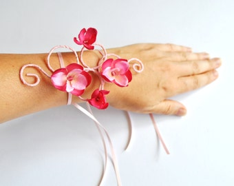 girls arm cuff bracelet  pink flowers and pink vine or any colour vine or flowers flower girl mini maids wedding prom