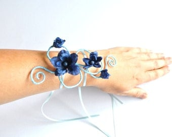 girls arm cuff bracelet  dark blue flowers and light blue vine or any colour vine or flowers flower girl mini maids wedding prom