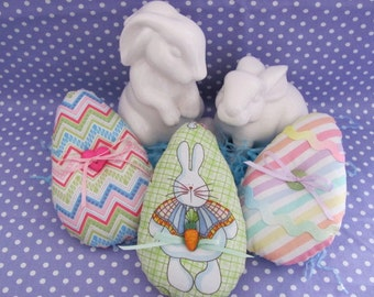 Easter Egg Bowl Fillers Tucks Shelf Ornies Three Different Pastel Fabric Eggs Little Accent Buttons/Ribbon Bows Set of Three - Easter Decor