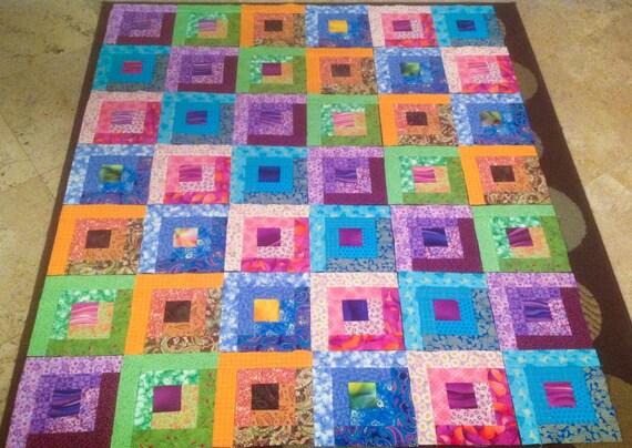 42 BRIGHT LOG CABIN Quilt  Fabric Blocks  Squares Top