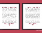 Personalized Wedding Vow Art, Custom Anniversary Gift, Set of two prints (vows, song lyrics, poem ) Wedding gift, Custom colors