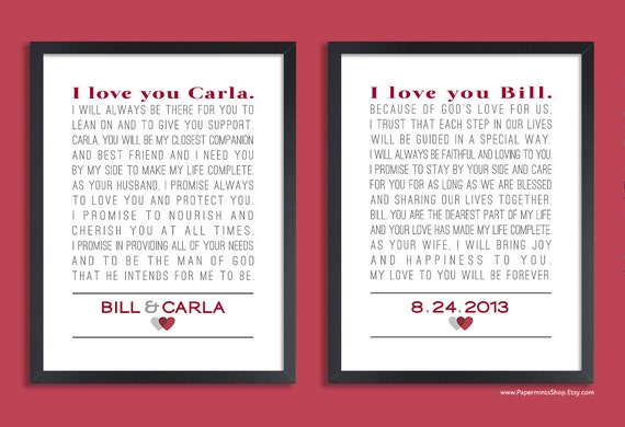 Personalised Wedding Vow Gifts : Personalized Wedding Vow Art, Custom Anniversary Gift, Set of two ...