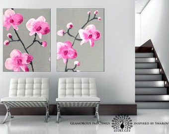 Pink and grey painting. Japanese home decor ZEN Asian art. Pink orchid & glitter canvas painting diptych. Pink and grey art. Japanese art