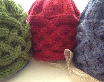 Saxon Braid, Beanie, Cap, Wool Blend, Cable Knit, Grass, Bluebell, Deep Rose