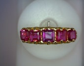 Ruby and Decorative Gold Band, 5 Vintage Princess-Cut Rubies 0.80 TCW, 14K Gold, Ring Size 7, Owner Kathy Bates