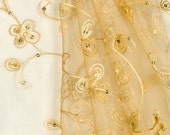 Gold Sequin Embroidered Organza Table Runner - Table Overlay - SELECT A SIZE