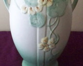 INCREDIBLY MASSIVE Weller Pottery Panella Vase  Blue and Green Tones With Yellow Flowers Huge Pottery Vase Dual Art Deco Handles