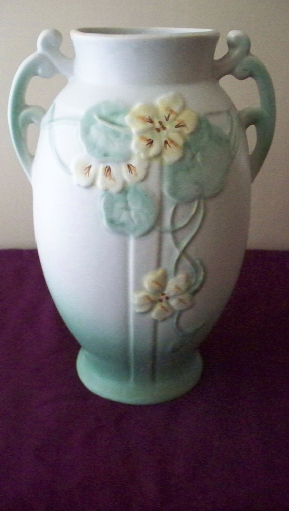 Weller Pottery Panella Vase Blue Green Tones With Yellow