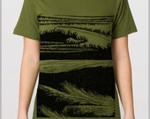 Hand printed Waves Design Unisex T Shirt American Apparel Tee Men and Ladies shirt